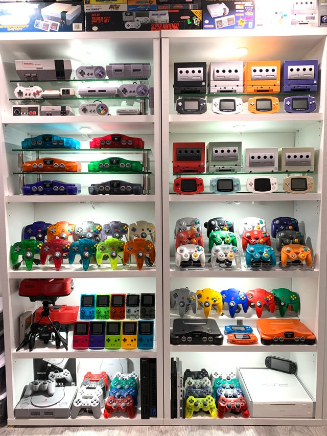 Gaming Room Console and Handheld Organization