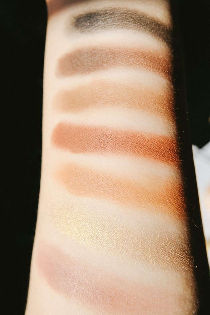 Top to bottom: Noir, Cyprus Umber, Rustic, Sienna, Burnt Orange, Fairy, and Dusty Rose.