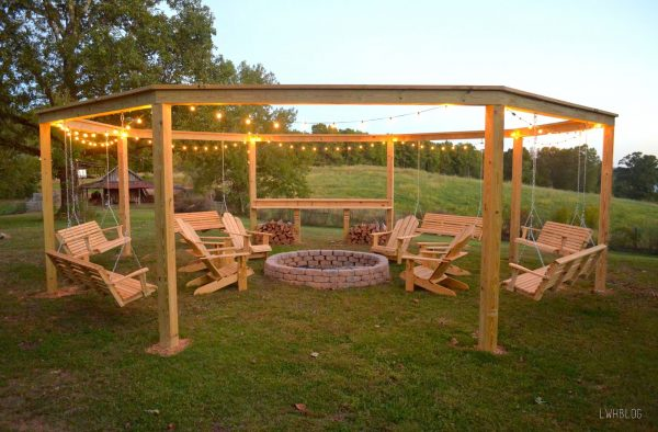 Outdoor Pergola and Firepit