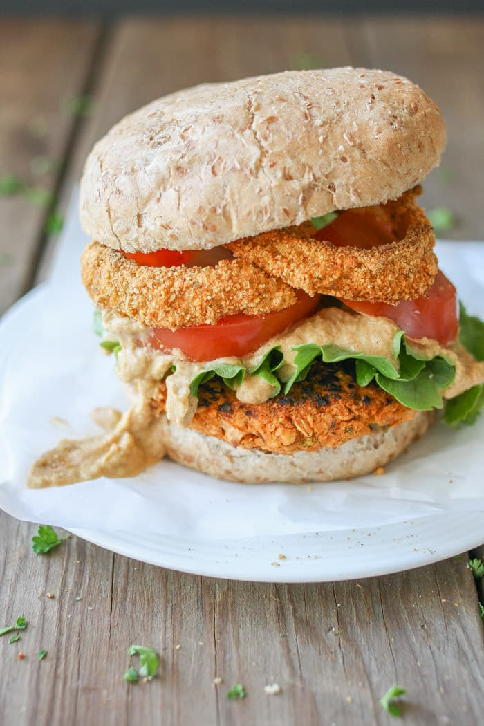 Buffalo Chickpea Vegan Burger 4th of July
