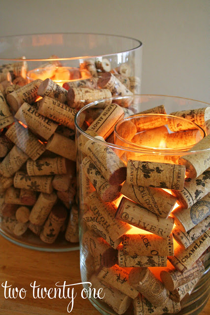 These wine cork candles give such a warm and cozy glow to any room.