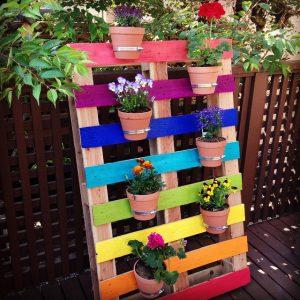 Rainbow Pallet Container Garden
