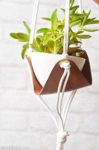 Hanging Leather Sling Planter for Succulent