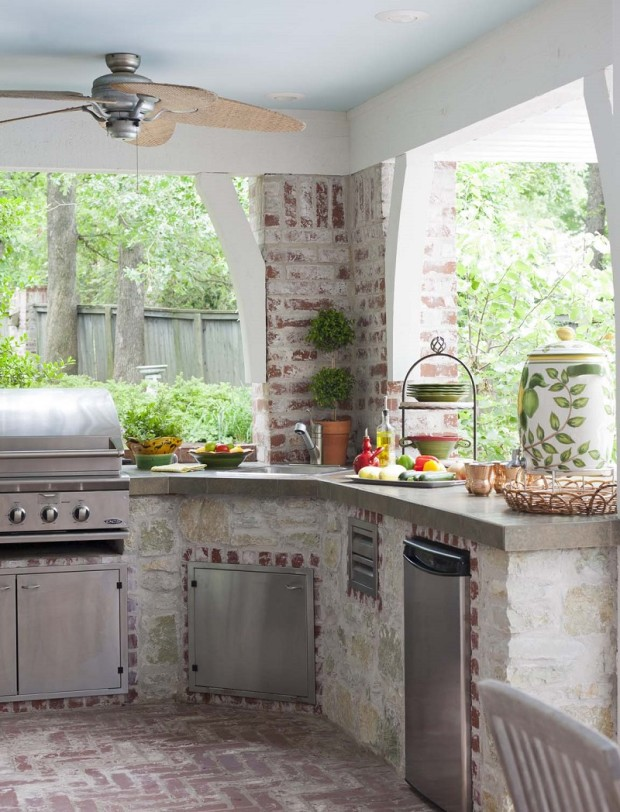 Shabby Chic Outdoor Kitchen With Dishwasher, Oven and Sink