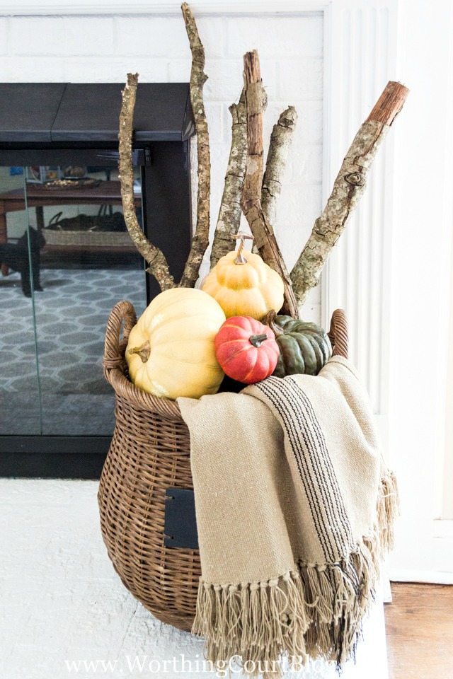 Rustic Fall Home Decor | Basket of Pumpkins DIY