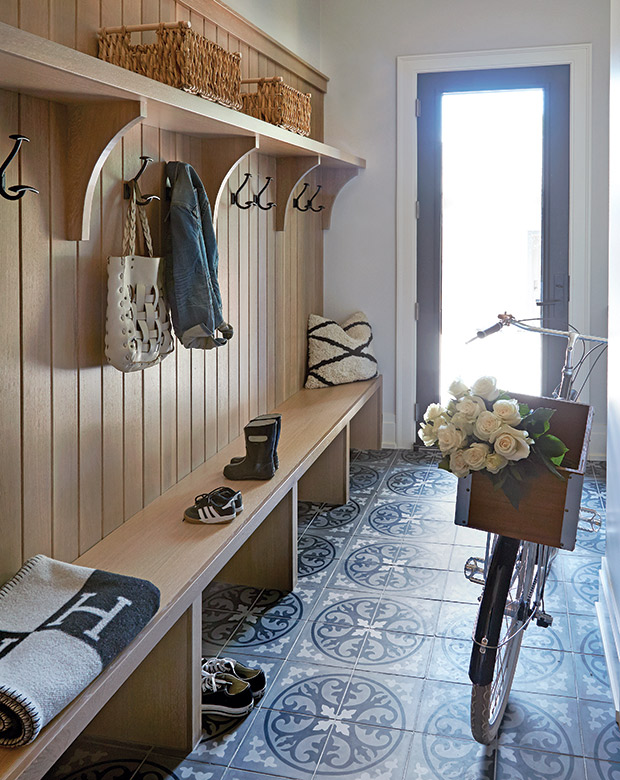 Mudroom Entryway With Bike Storage Space