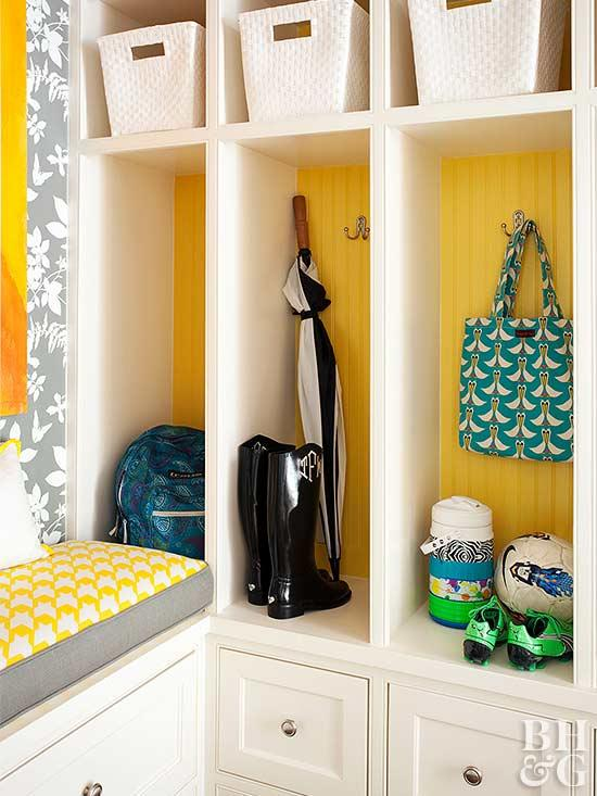 Bright Yellow and White Mudroom Entryway