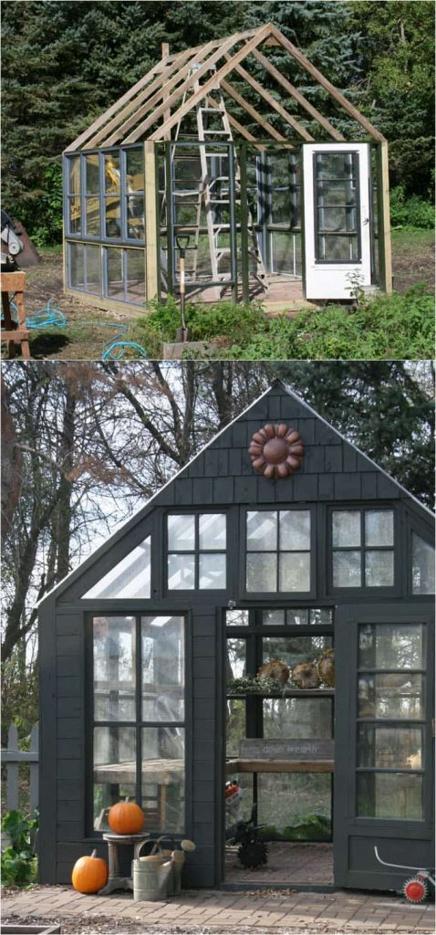 DIY Shed With Reclaimed Windows