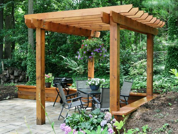 Unattached Brown Pergola Idea