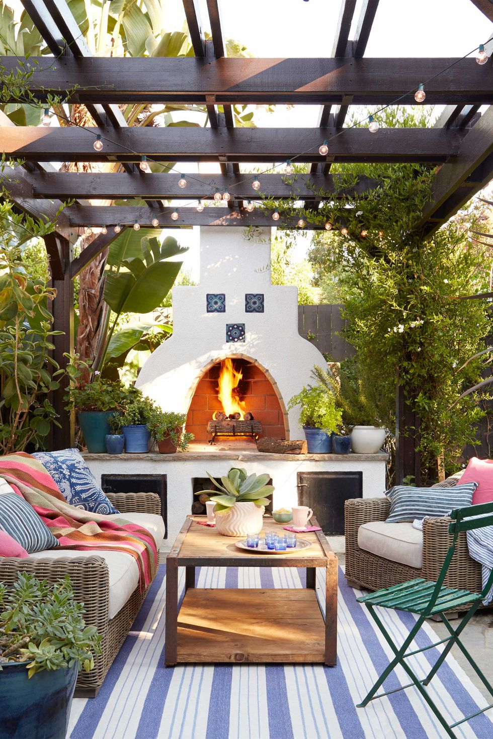 Stucco Wood Fire Oven Backyard Kitchen