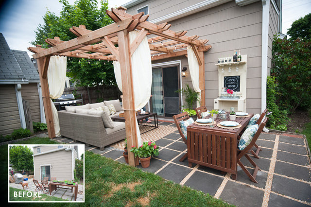 DIY Wooden Pergola With String Lights
