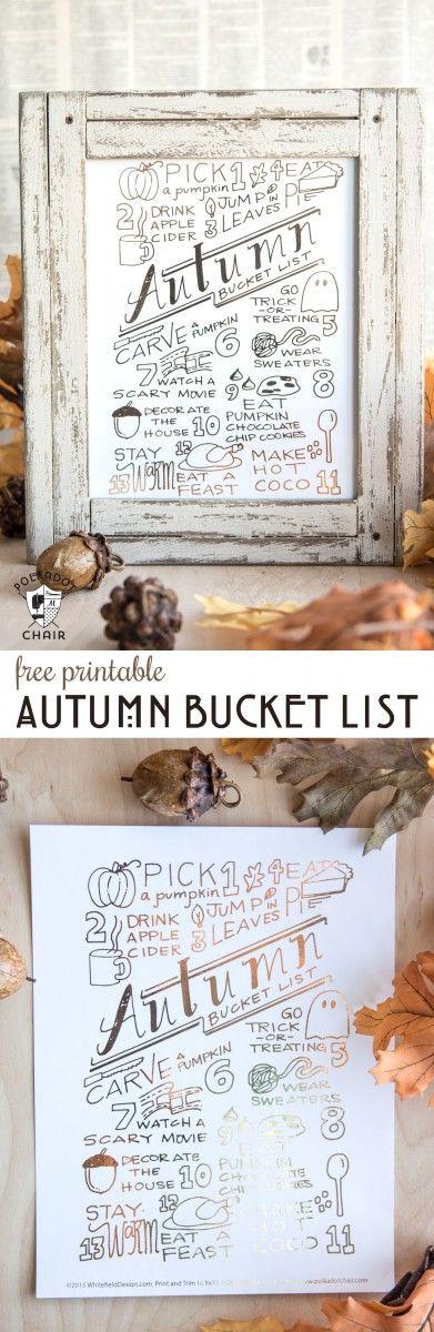 Free Printable Autumn Bucket List | DIY Rustic Fall Decor Ideas