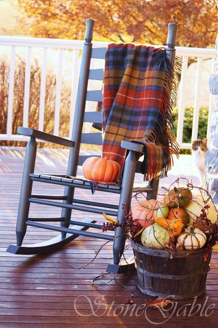 Rustic Fall Porch Decor Idea | Swinging Rocking Chair and Pumpkins