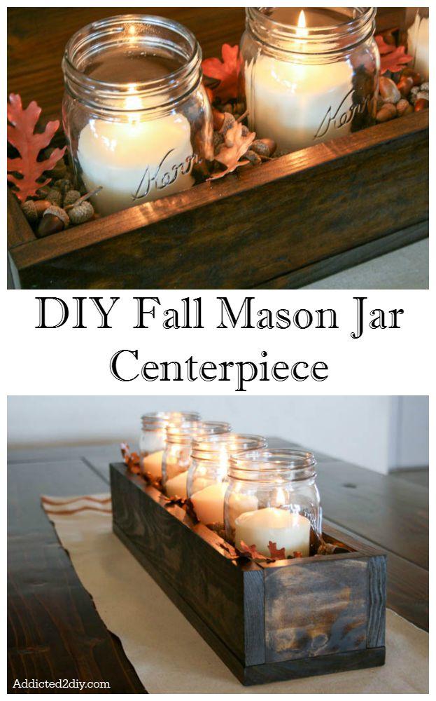 DIY Fall Mason Jar Centerpiece | Rustic Decor