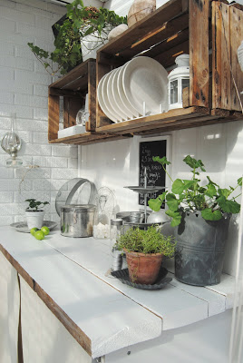 Floating Shelves Outdoor Kitchen