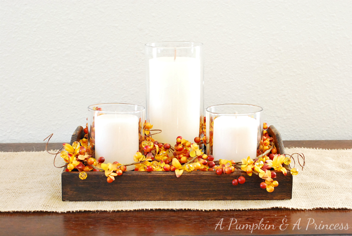 Rustic Candle and Leaves Centerpiece for Fall Decor