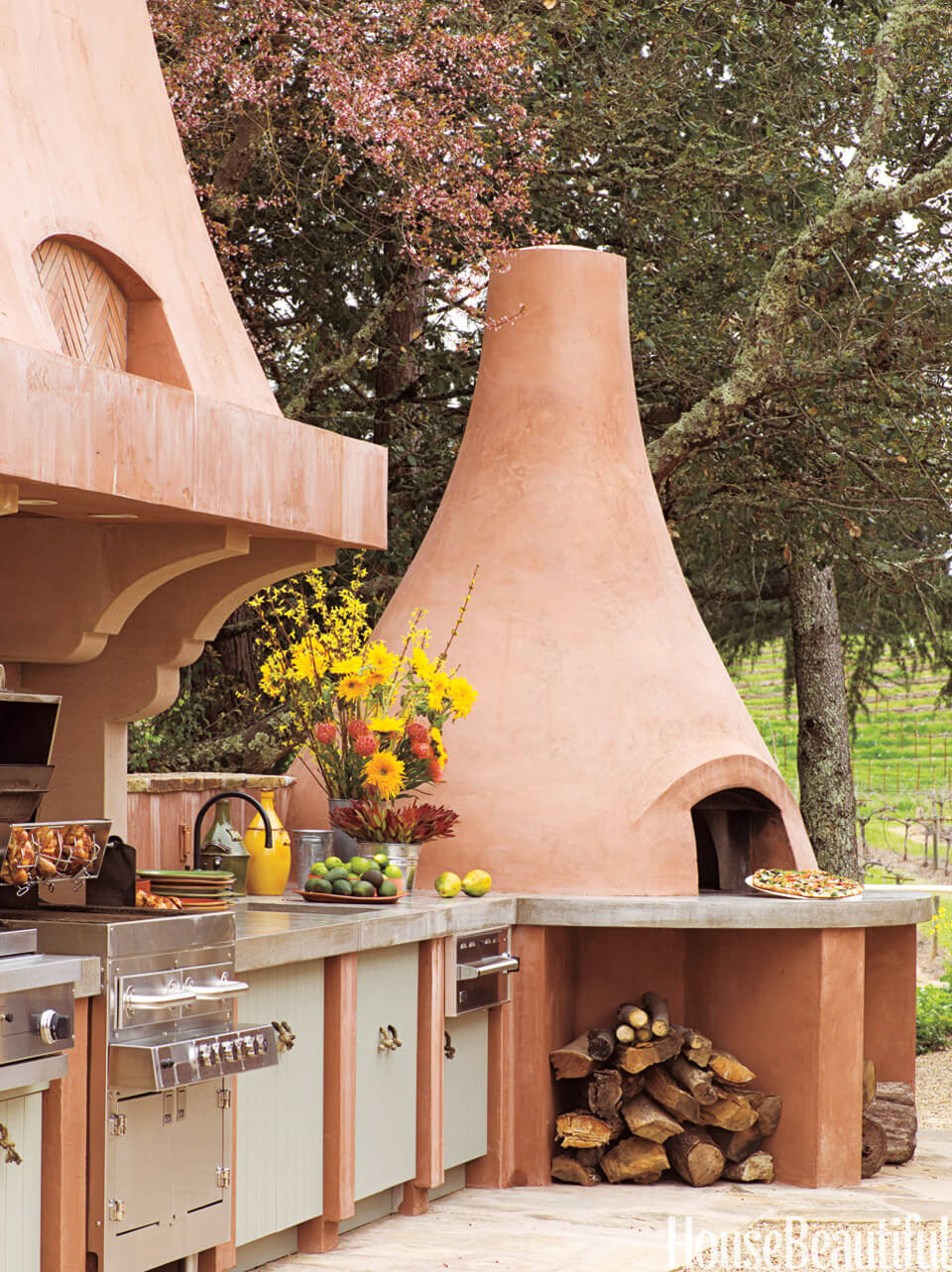 Terra Cotta Outdoor Kitchen With Pizza Oven