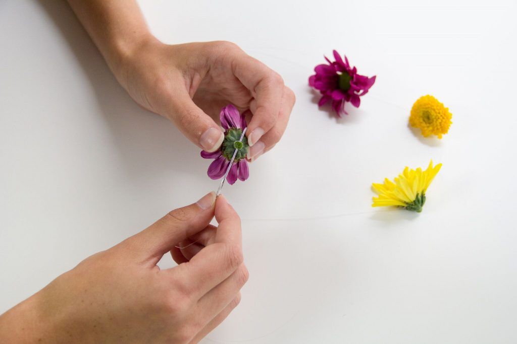 Attach Flowers to Line