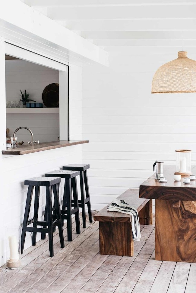 White Shiplap Oceanside Coastal Outdoor Kitchen
