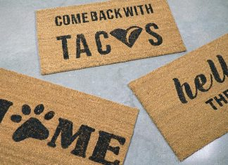 11 Unique DIY Door mats With Stencils