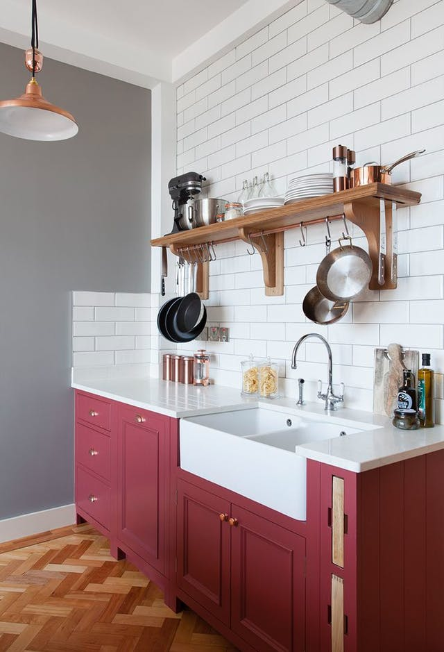 Dark Red Rose Kitchen Cabinet Paint Idea