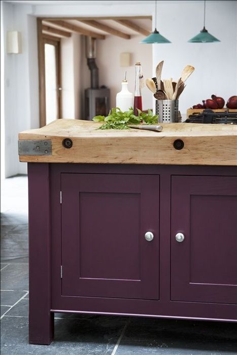 Aubergine Purple Kitchen Cabinet Paint Ideas
