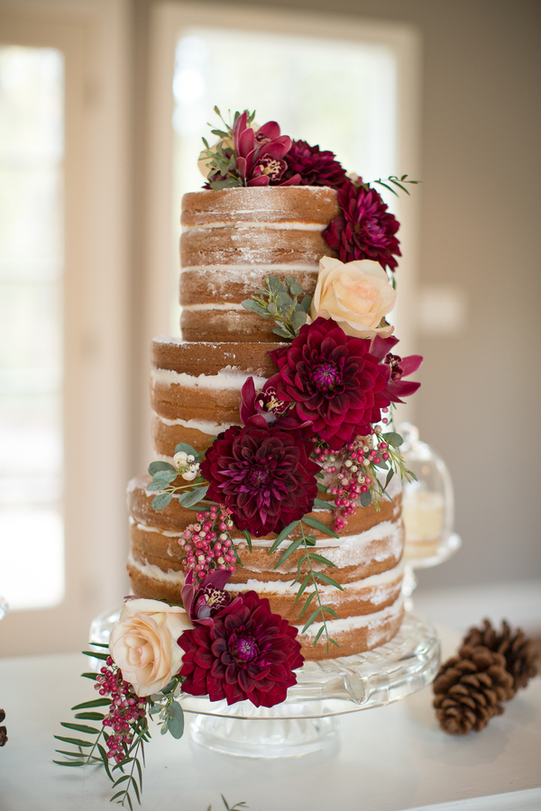 Woodsy Red Naked Wedding Cake