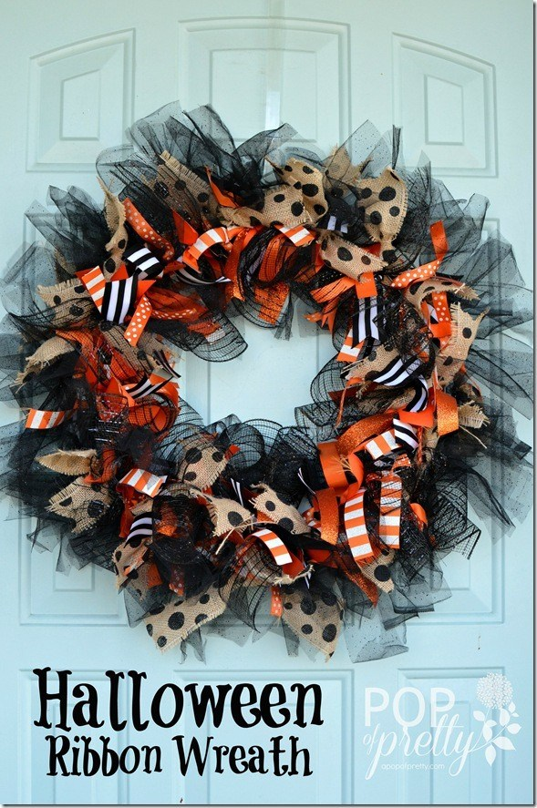 DIY Ribbon Halloween Wreath