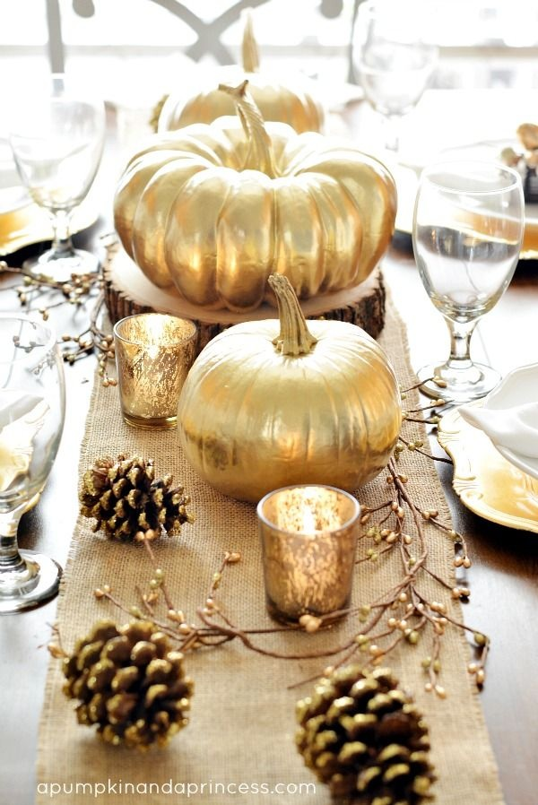 Metallic Gold Pumpkin Centerpiece for Fall Weddings