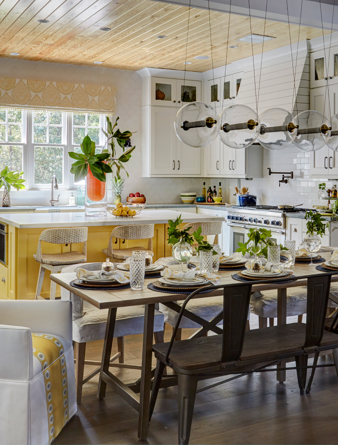 Yellow Kitchen Island Paint Idea