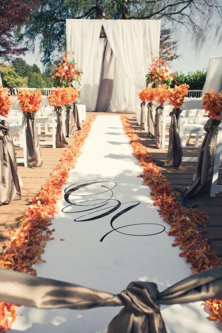 Fall Leaves Wedding Aisle