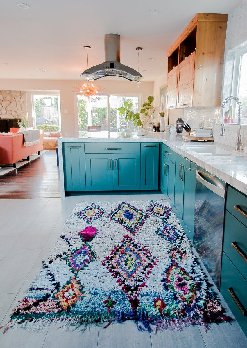 Valspar Fish Tale Paint on Kitchen Cabinets in Mid Century Modern Home