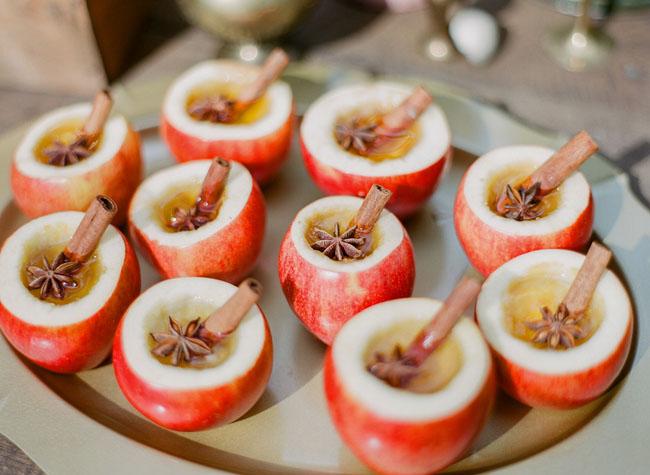 Apple Cider in Apple Cups Fall Wedding Idea