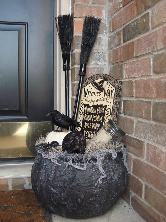 Dollar Store Witch's Brew for Halloween Porch Decor