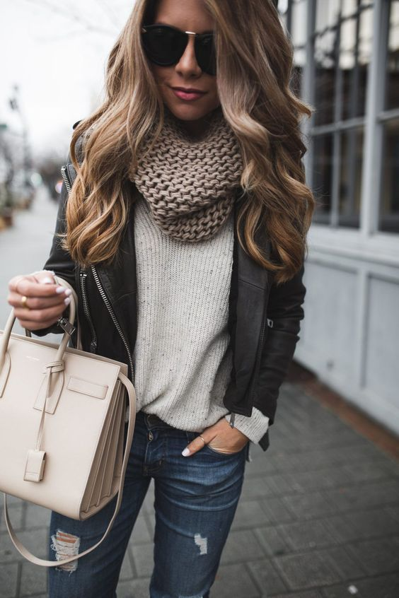 Neutral Gray and Beige Fall Outfit