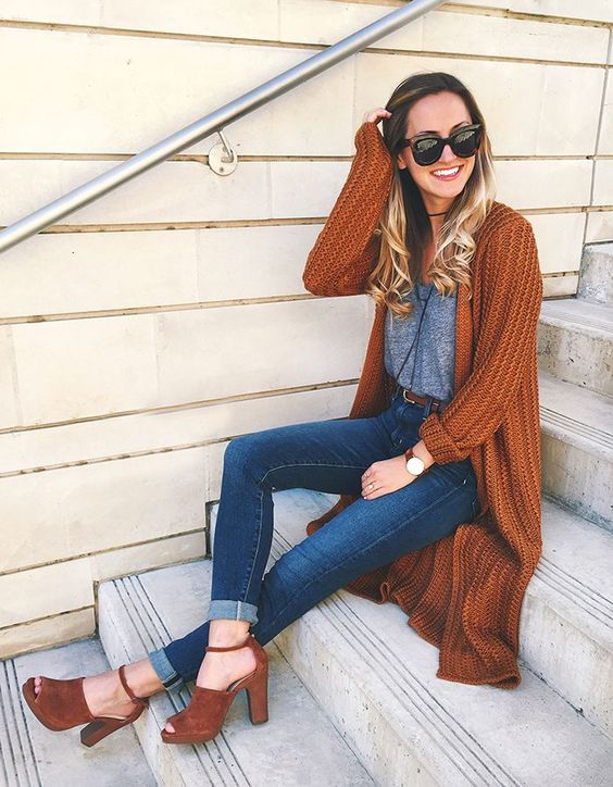 Burnt Orange Cardigan Fall Outfit With Cute Jeans