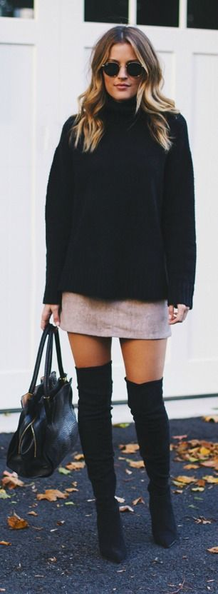 Black Sweater and Taupe Skirt