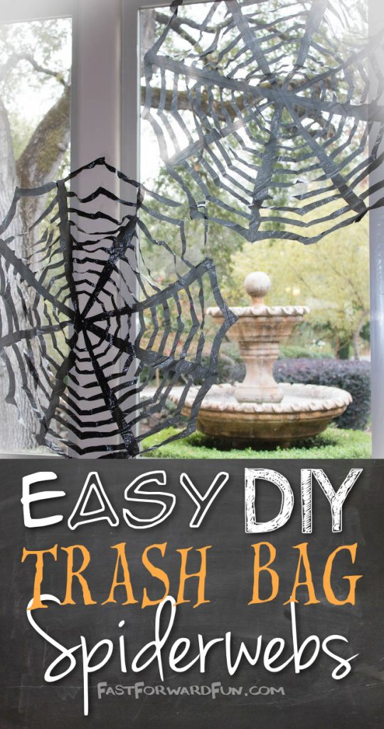 DIY Trash Bag Spider Web for Halloween