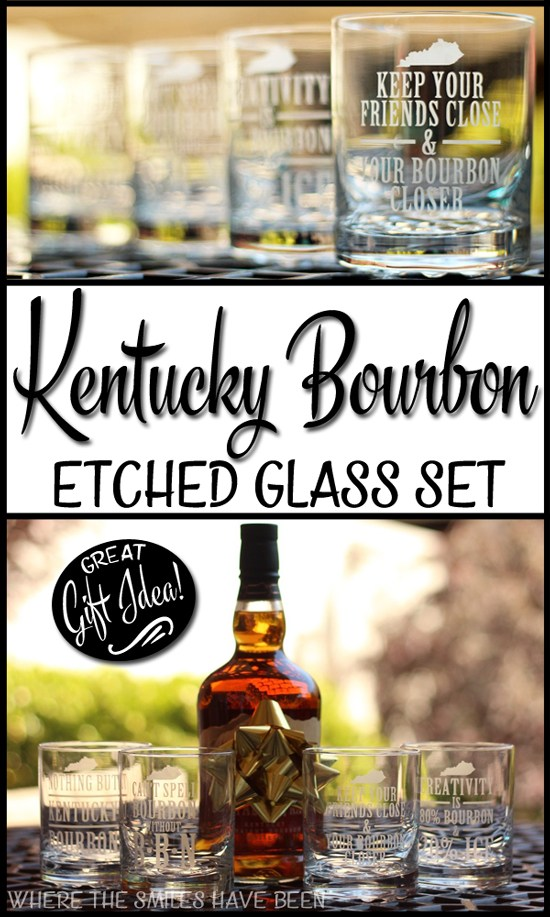 Kentucky Bourbon Etched Glass Set