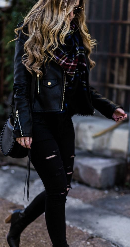 Black Jacket and Black Ripped Jeans Fall Outfit