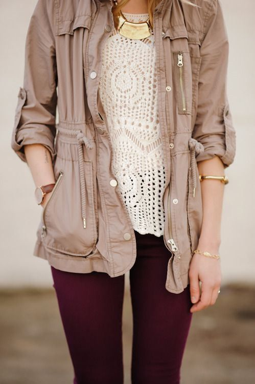 Beige Jacket With Red Pants for Fall