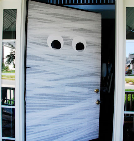 Crepe Paper Mummy Door Decor for Halloween