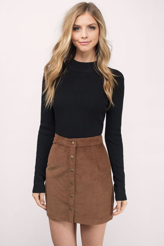 Camel Corduroy Skirt With Black Turtleneck Fall Outfit