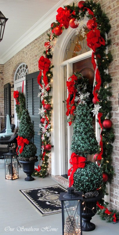 Christmas Garland and Wreath Front Porch Decor