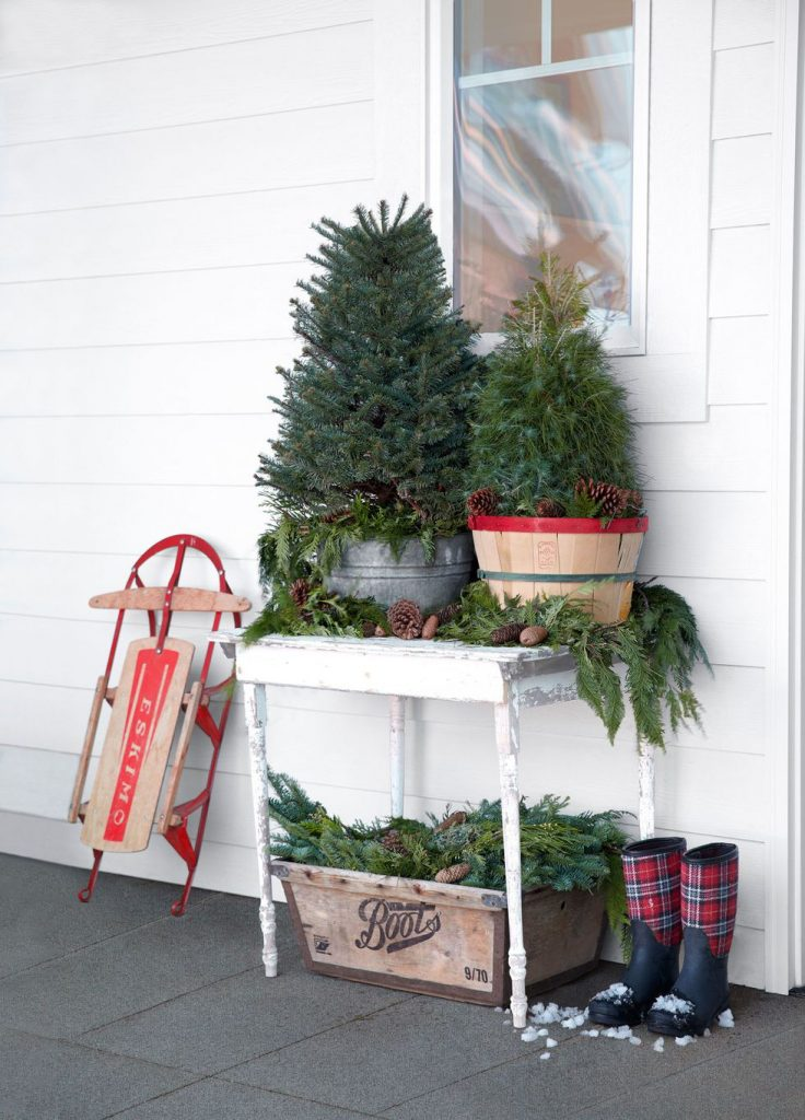 Front Porch Mini Christmas Trees