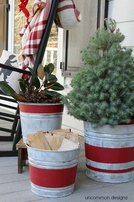 Vintage Striped Aged Galvanized Buckets