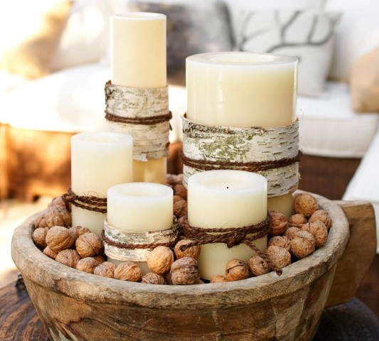 awesome rustic christmas candle centerpiece decoration with handmade wooden bowl filled by large candles and beans for creative christmas table ideas small