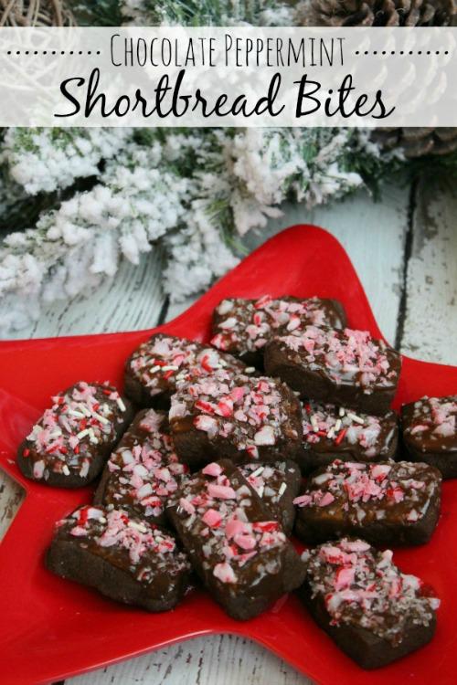 Chocolate Peppermint Shortbread Cookies