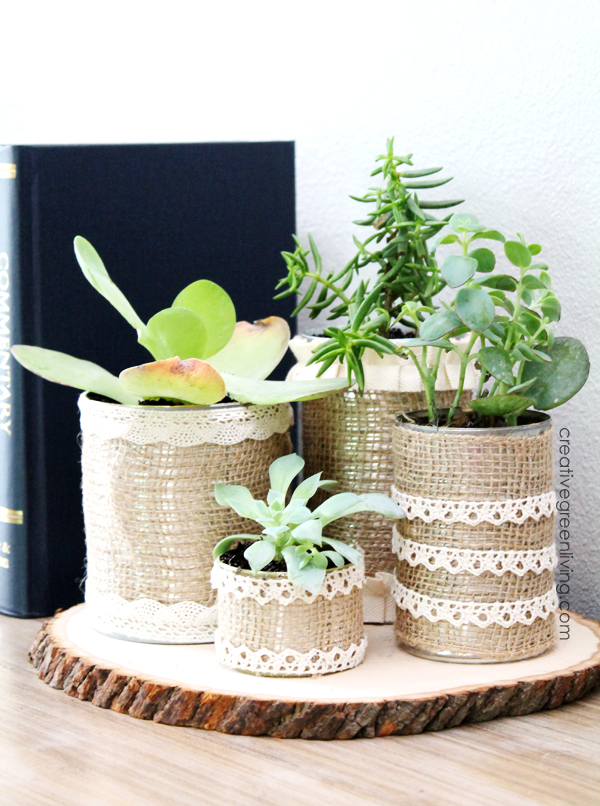 Burlap Recycled Can Planter