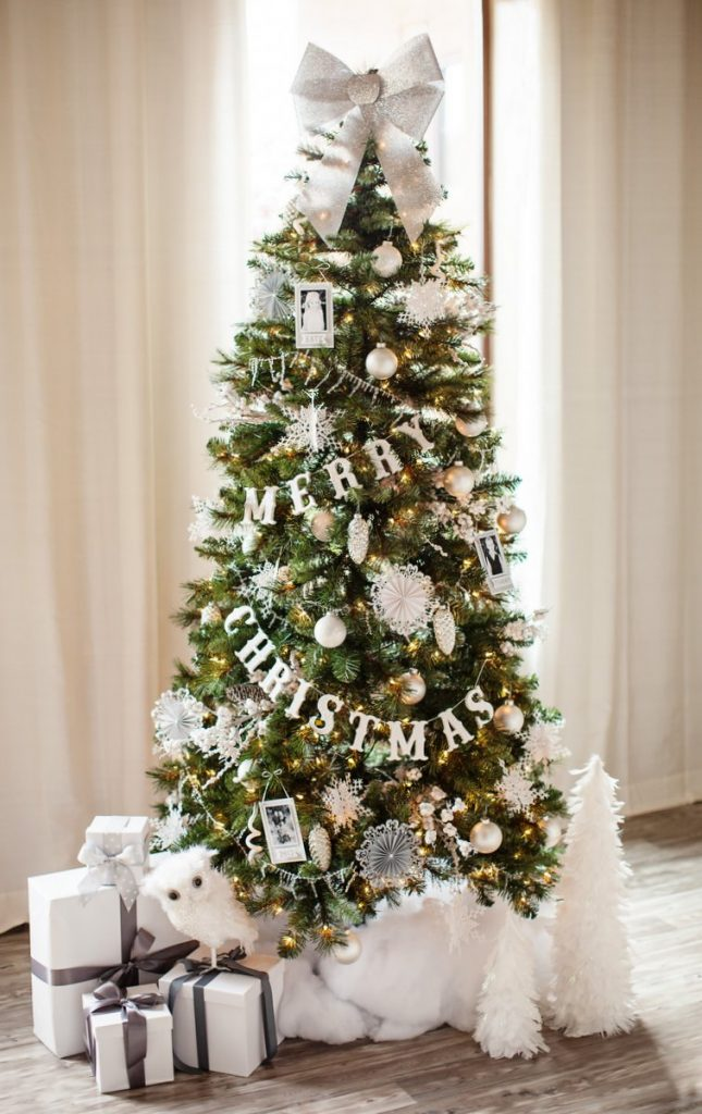 Silver and White Family Christmas Tree Theme